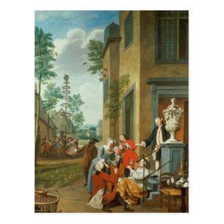 Réjoissances de villageois carte postale
