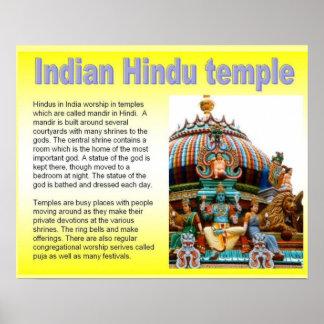 Religion, temple hindou indien affiche