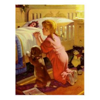 Religion vintage, fille priant avec le chien à carte postale