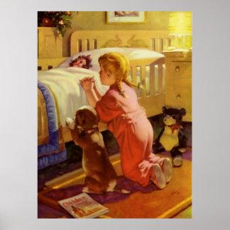 Religion vintage, fille priant avec le chien à poster