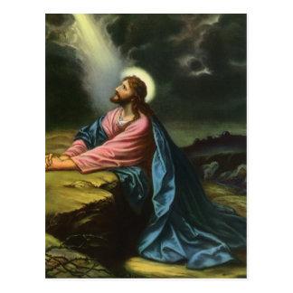 Religion vintage Jésus-Christ priant Gethsemane Carte Postale