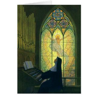 Religion vintage, nonne jouant un organe dans carte de vœux