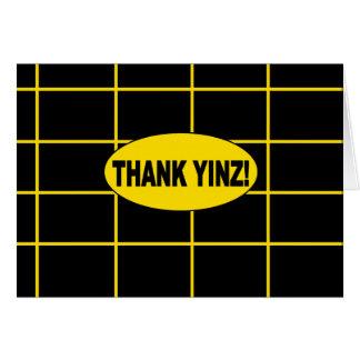 Remerciez la carte de voeux centrée par or de Yinz
