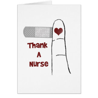 Remerciez une carte de voeux de blanc d'infirmière