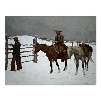 Remington - automne du cowboy carte postale