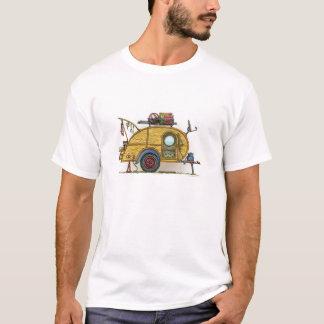 Remorque vintage mignonne de voyage de campeur de t-shirt