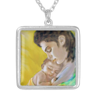 Remorques avec l'image mère et enfant pendentif carré