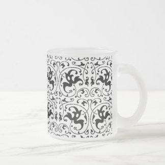 Remous blanc noir vintage mug en verre givré