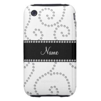 Remous blancs nommés personnalisés de diamant coque tough iPhone 3