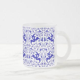 Remous bleu et blanc vintage mug en verre givré