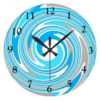 Remous bleu et gris abstrait grande horloge ronde