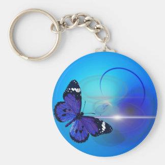 Remous bleus de papillon porte-clé rond