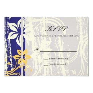 Remous de bleu et de jaune épousant RSVP Carton D'invitation 8,89 Cm X 12,70 Cm