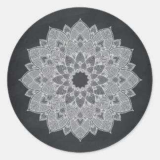 Remous de fleur de Lotus de mandala de tableau Sticker Rond