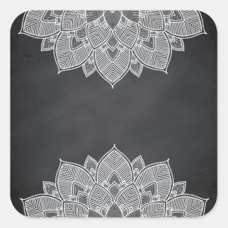 Remous de mandala de fleur de Lotus de tableau Sticker Carré
