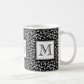 Remous de noir, monogramme fait sur commande, mug