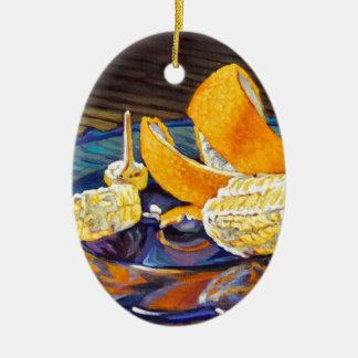 Remous de peau d'orange ornement ovale en céramique