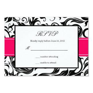 Remous de roses indien et de noir épousant RSVP Carton D'invitation 8,89 Cm X 12,70 Cm