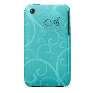 Remous de turquoise de monogramme coques Case-Mate iPhone 3