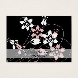 Remous élégants et fleurs cartes de visite