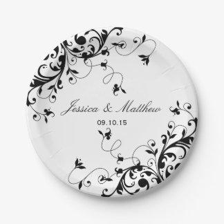 Remous élégants noirs et mariage blanc assiettes en papier
