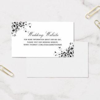 Remous élégants noirs et site Web blanc de mariage Cartes De Visite