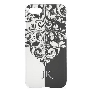 Remous floral élégant d'écran noir et blanc de coque iPhone 7