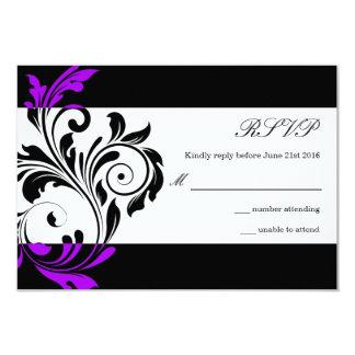 Remous floral noir et pourpre épousant RSVP Invitations