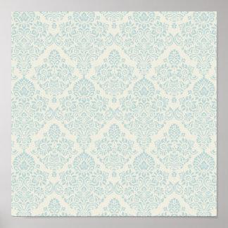 Remous floral sensible bleu de plage poster