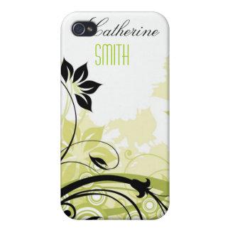 Remous floraux beiges verts iPhone 4 case