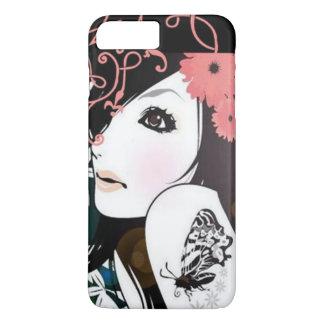 Remous floraux de fille de papillon coque iPhone 7 plus