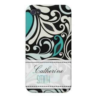 Remous floraux de turquoise étuis iPhone 4