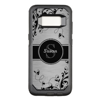 Remous floraux noirs argentés de Faux Coque Samsung Galaxy S8 Par OtterBox Commuter