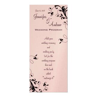 Remous floraux noirs roses épousant le programme carton d'invitation  10,16 cm x 23,49 cm