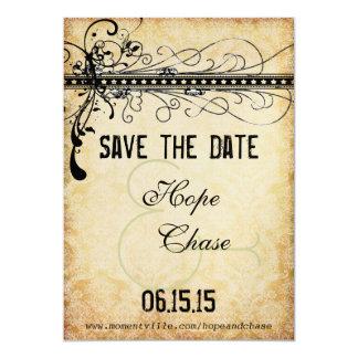 Remous géniaux noirs de damassé épousant des carton d'invitation  12,7 cm x 17,78 cm