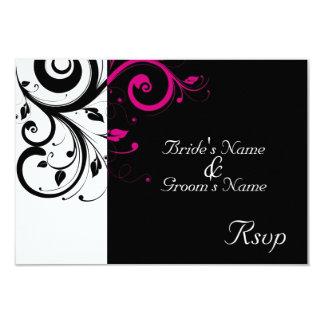 Remous magenta noir/blanc épousant petit RSVP Carton D'invitation 8,89 Cm X 12,70 Cm