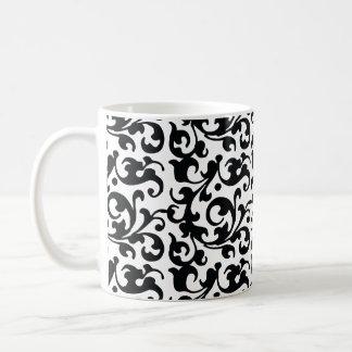 Remous noirs et blancs élégants de damassé mug