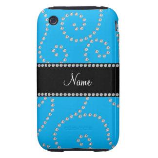 Remous nommés personnalisés de diamant de bleu de coques tough iPhone 3