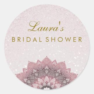 Remous nuptiale de fleur de Lotus de mandala de Sticker Rond