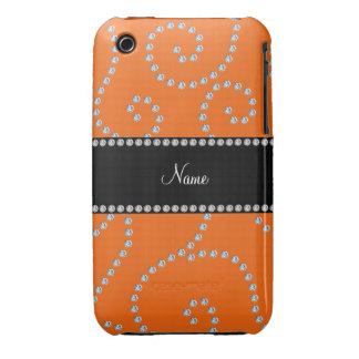 Remous oranges nommés personnalisés de diamant étuis iPhone 3