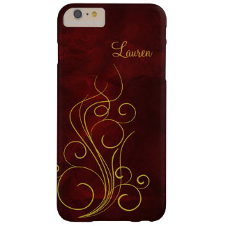 Remous rouge élégant d'or coque iPhone 6 plus barely there