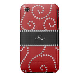 Remous rouges nommés personnalisés de diamant coques iPhone 3