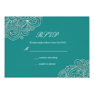 Remous turquoise épousant RSVP Carton D'invitation 11,43 Cm X 15,87 Cm