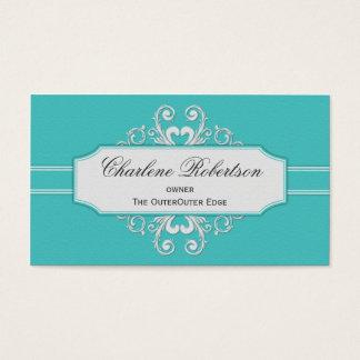 Remous turquoises vintages de blanc cartes de visite