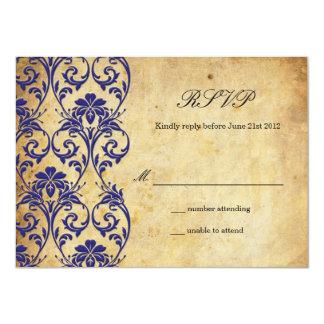 Remous vintage de bleu royal épousant RSVP Carton D'invitation 11,43 Cm X 15,87 Cm