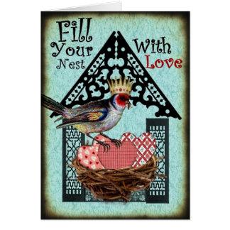 Remplissez votre nid de carte d'amour