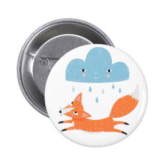 Renard avec le nuage de pluie badge
