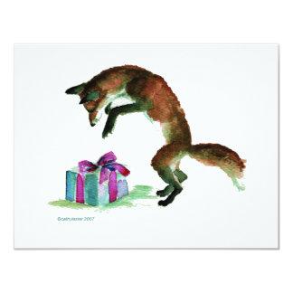 renard avec le présent carton d'invitation 10,79 cm x 13,97 cm