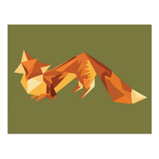 Renard d'origami cartes postales