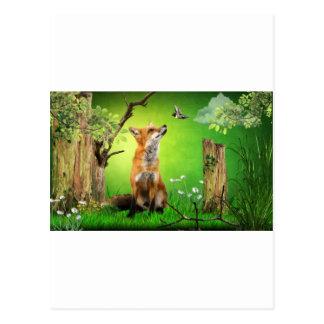renard et l'oiseau de ronflement carte postale